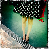 Black and White Polka Dot Skirt and Shoes